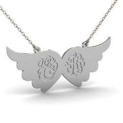 Sterling Silver Angel Wings Single Monogram Initials Necklace