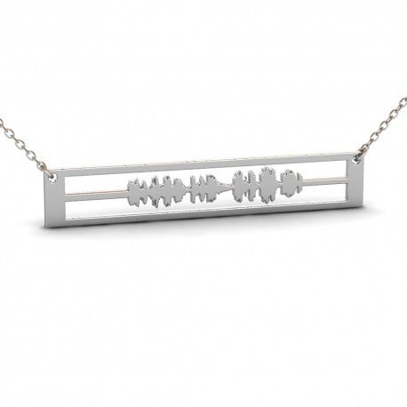 Sterling Silver Custom Soundwave, Heartbeat, Voice Record Necklace