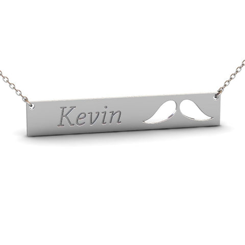 Sterling Silver Mustache Name Bar Necklace