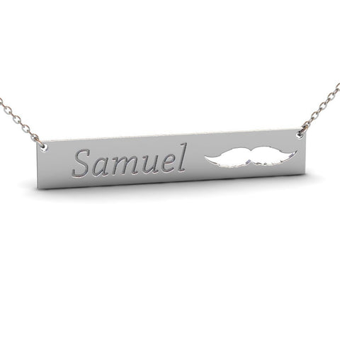 Sterling Silver Mustache Name Bar Necklace #3