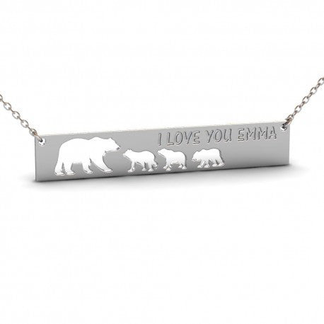 Sterling Silver Bears Name Bar Necklace