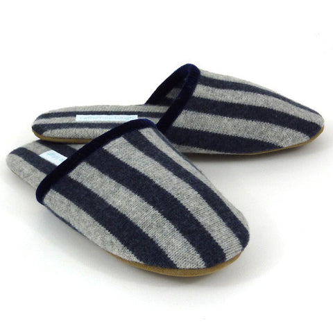AAA Lambswool Luxury House Slipper - Navy Blue Stripe