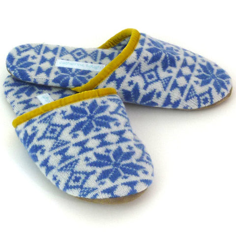 AAA Luxury Lambswool Slippers - Cornish Blue Snowflake