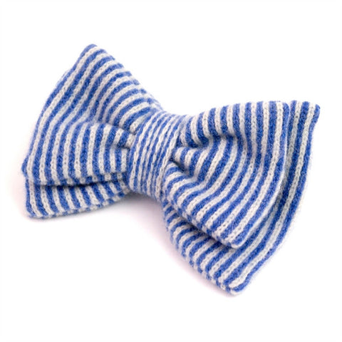Stripy Knitted Blue Bow Brooch