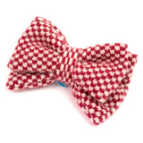 Red Check Knitted Bow Brooch
