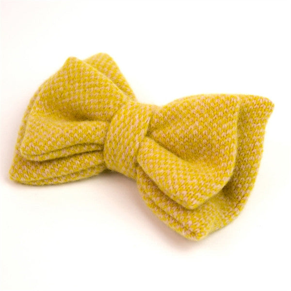 Yellow Check Wool Bow Brooch