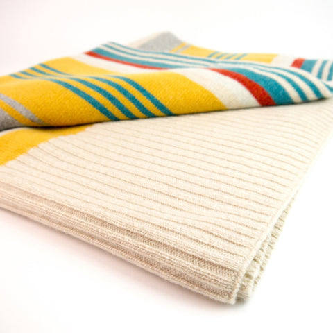 Lambswool Blanket / Throw - Gold, Teal & Rust Stripe