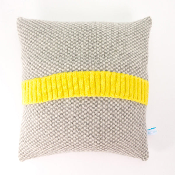 Knitted Cushion - Grey Check