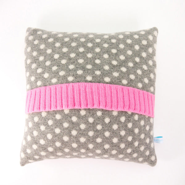 Knitted Cushion - Grey Dot