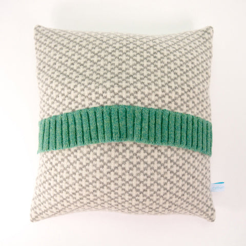 Knitted Cushion - Grey Cross