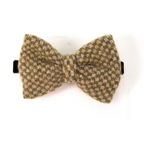 Lambswool Bow Tie - Olive Check