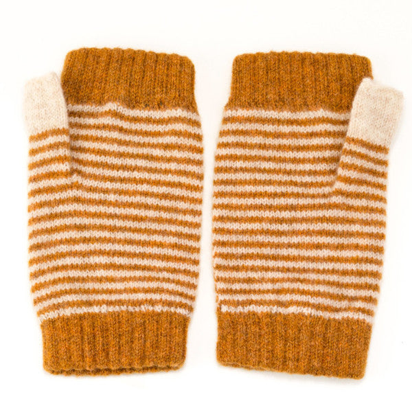 stripy oat and gold wrist warmers fingerless glvoes