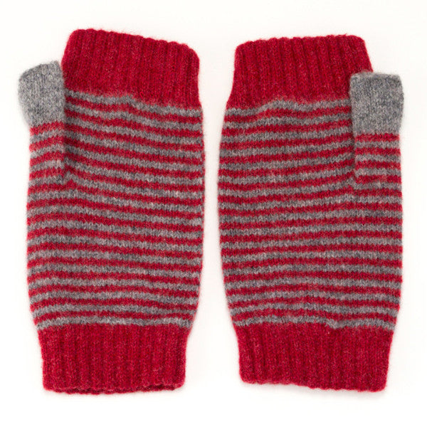 red and grey stripy wrist warmers