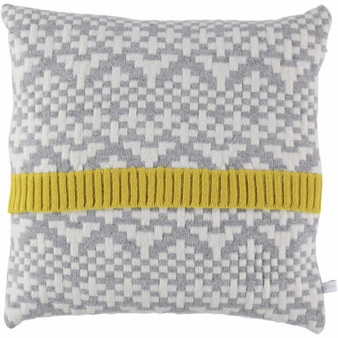 Knitted Lambswool Grey Cross Stitch Pattern Cushion