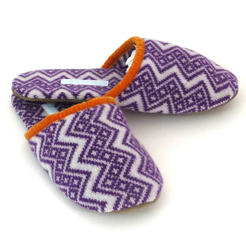 purple zig zag slippers