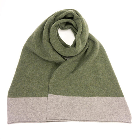 colour block grey & green lambswool scarf