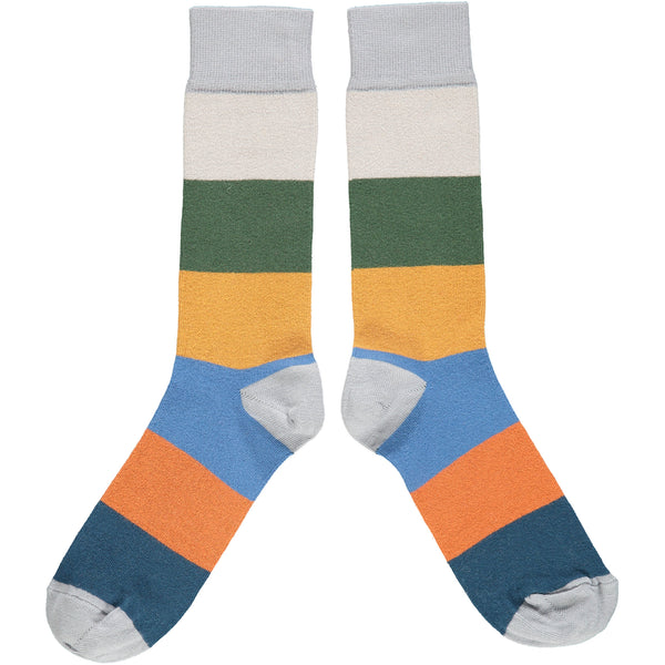 ANKLE SOCKS - cotton - men's  - colour block - grey