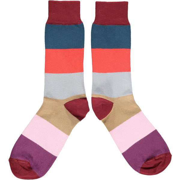 ANKLE SOCKS - cotton - men's  - colour block - red