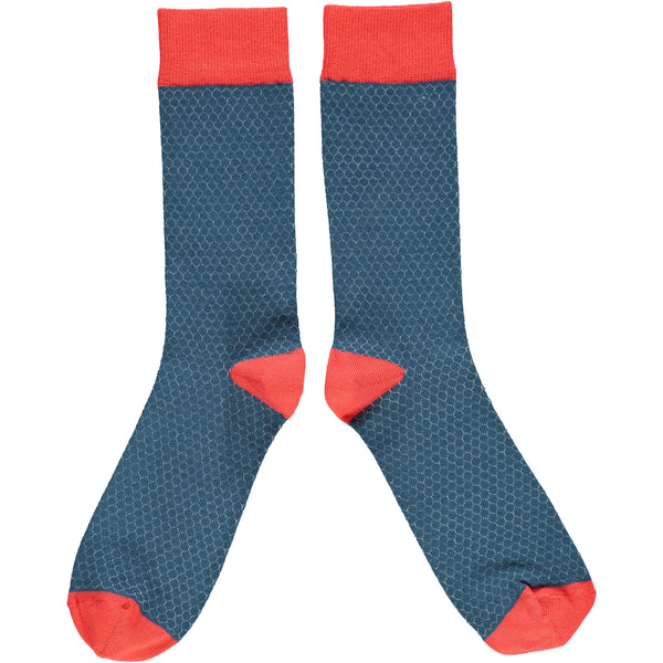 Men's Navy & Red Honeycomb Cotton Ankle Socks