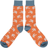 Men's Orange Planes Cotton Ankle Socks