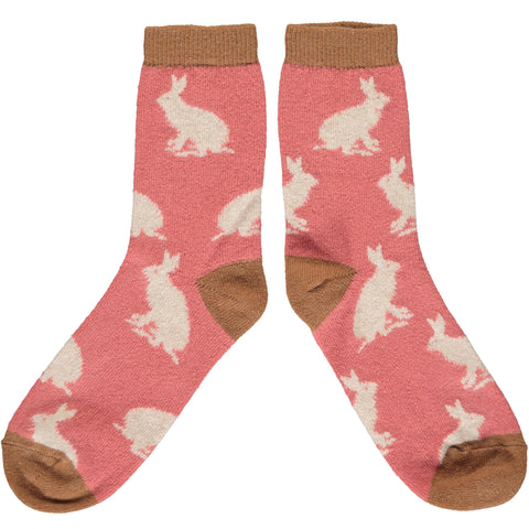 Ladies Blush Pink & Oat Rabbit Ankle Socks