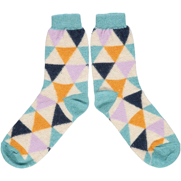Ladies Jade & Navy Triangle Lambswool Ankle Socks