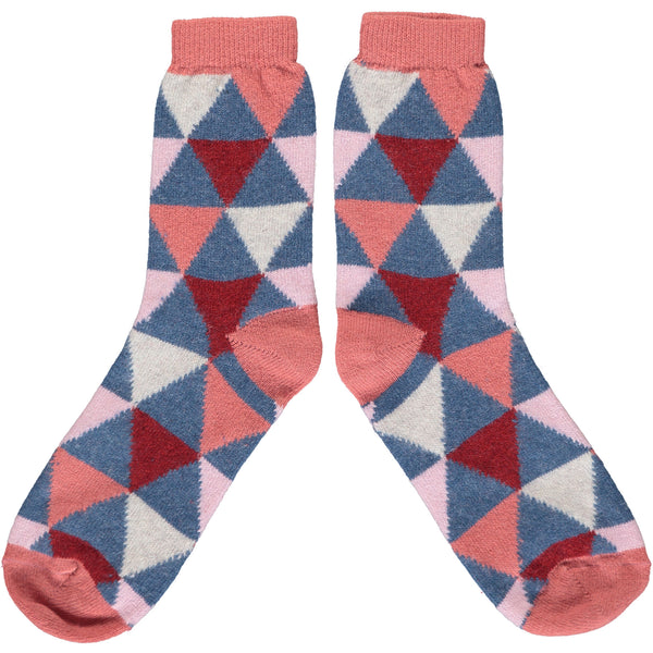 Ladies Pink & Blue Triangle Lambswool Ankle Socks
