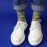 Ladies Sage & Yellow Bees Cotton Ankle Socks