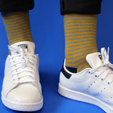 Men's Grey & Lime Striped Cotton Ankle Socks