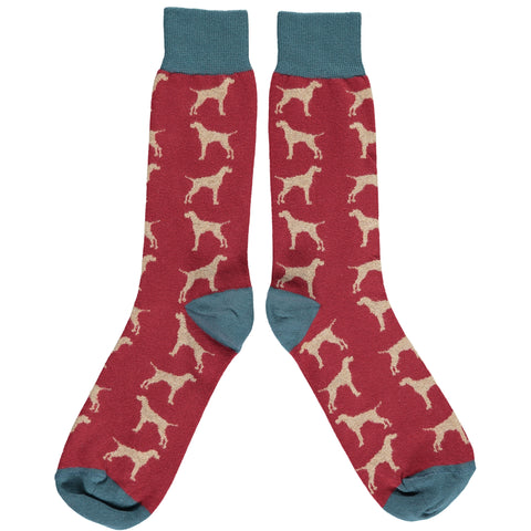 Men's Dark Red Hounds Cotton Ankle Socks