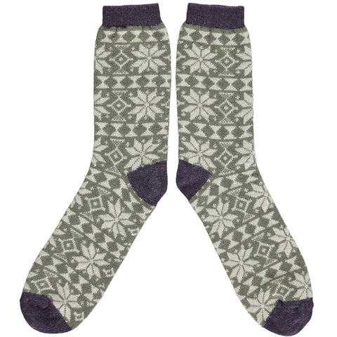 ANKLE SOCKS - lambswool - men's green fair isle