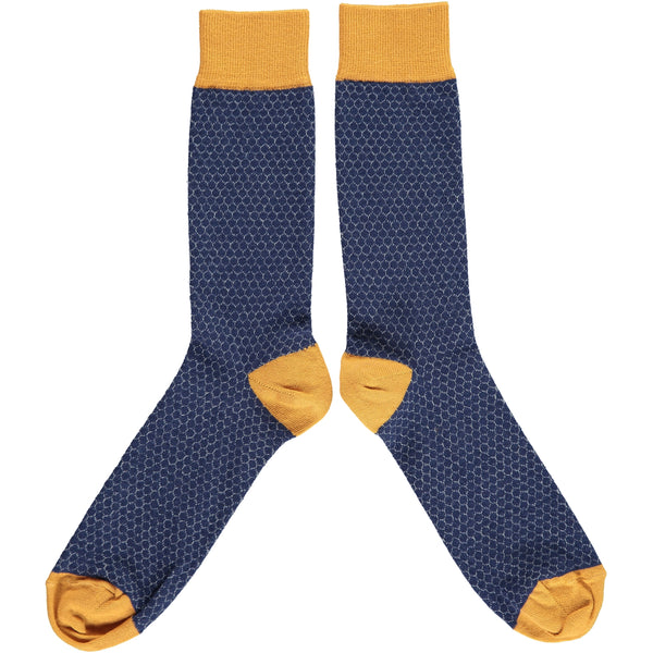 ANKLE SOCKS COTTON MENS - honeycomb navy