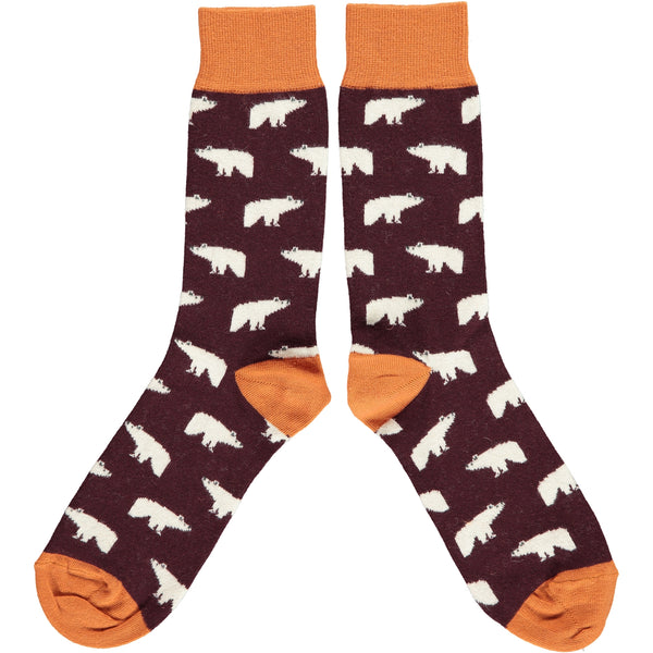 Men's Aubergine Polar Bear Cotton Ankle Socks