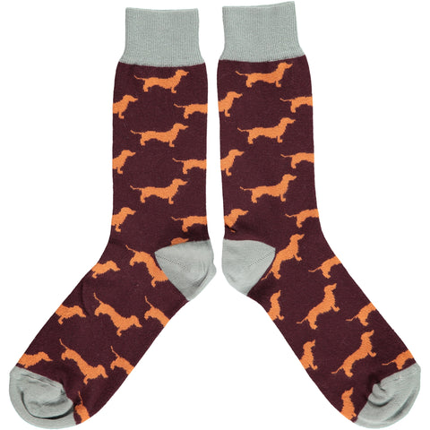 ANKLE SOCKS COTTON MENS - sausage dog orange