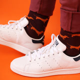 Men's Orange Sausage Dog Cotton Ankle Socks