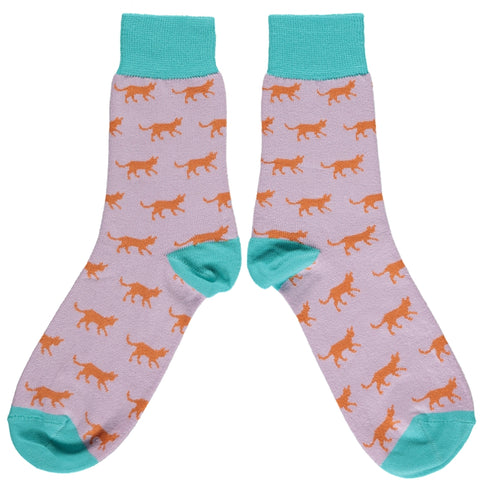 Ladies Orange Cat Cotton Ankle Socks