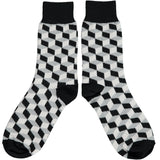 Ladies Grey Cube Cotton Ankle Socks
