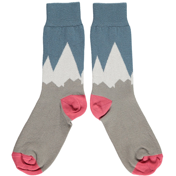 ANKLE SOCKS COTTON WOMENS - mountains pink