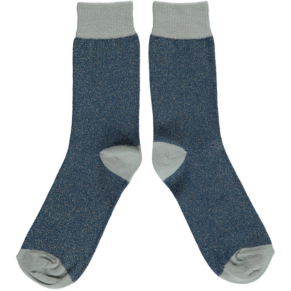 ANKLE SOCKS COTTON WOMENS - navy sage glitter