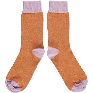 ANKLE SOCKS COTTON WOMENS - orange glitter