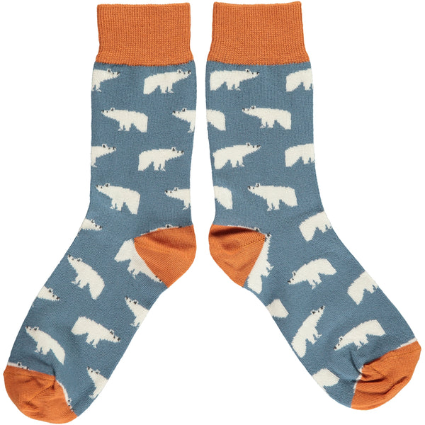 ANKLE SOCKS COTTON WOMENS - polar bear smokey