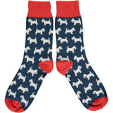 ANKLE SOCKS COTTON WOMENS - scottie dogs navy