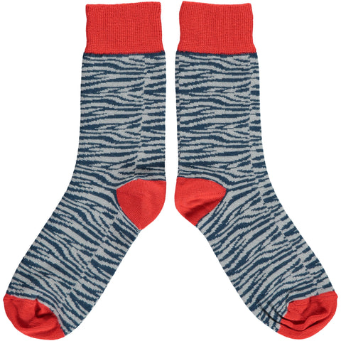 Ladies Zebra Print Cotton Ankle Socks