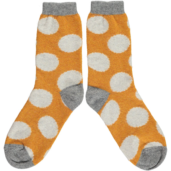 Ladies Ginger & Grey Big Spot Lambswool Ankle Socks