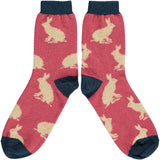Ladies Raspberry Pink & Peach Rabbit Lambswool Ankle Socks