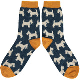 Ladies Inky Blue & Oat Scottie Dog Lambswool Ankle Socks