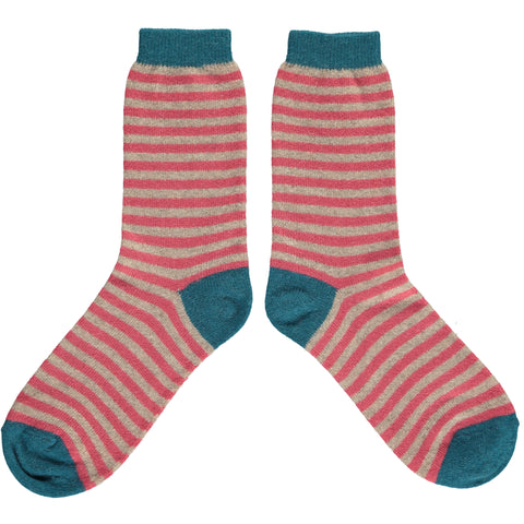 Ladies Mushroom & Raspberry Striped Lambswool Ankle Socks
