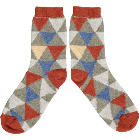 Ladies Denim, Peach & Orange Triangle Ladies Lambswool Ankle Socks