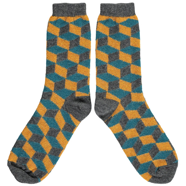 Men's Ginger & Petrol Cube Lambswool Ankle Socks