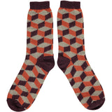 Men's Orange & Jade Cube Lambswool Ankle Socks